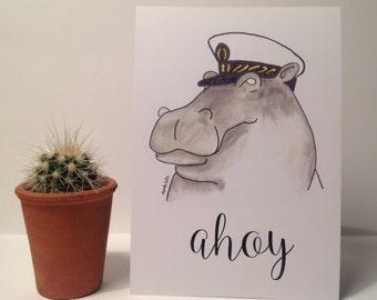 A5 Captain Hippo Print