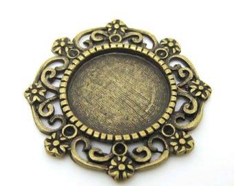 5pcs Antique Brass Filigree Round Shaped Blank Disc Plate Pendant Charm 24 mm (CHM-AB-RBD2424)
