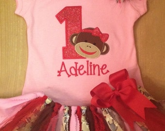 Girly Sock Monkey Birthday Tutu Outfit