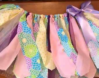 Lavender, Turquoise, Yellow, and Pink Floral Scrap Fabric Tutu