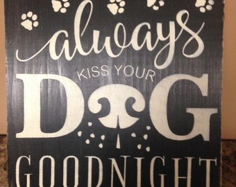 Hand painted distressed wooden sign/ dog