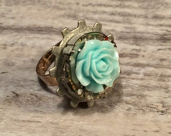 Dieselpunk Jewelry, Diesel punk ring, Steampunk Ring, Silver Watch Movement Ring, Teal Rose Ring, Repurposed Statement Ring Adjustable Size