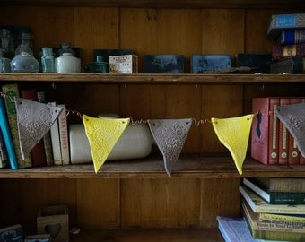 Yellow and Grey, Indian Style, Handmade Ceramic Bunting flags on curled copper wire, unique home decoration