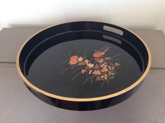 Beautiful Original Vintage Japanese Round Black Lacquer Drinks