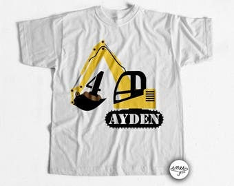 Excavator Birthday Shirt, Construction Birthday Shirt - Any Age!