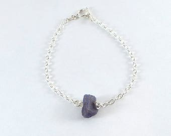Raw Tanzanite Simple Bracelet Sterling Silver