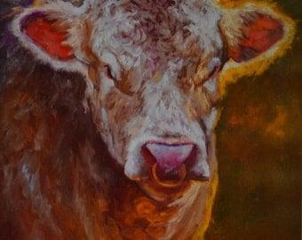 Giclee PRINT on canvas unstretched, bull print, cow art, animal art, bull art, wall decor, gift, Christmas gift, BULL ART