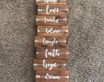 Family values sign, family sign, reclaimed wood sign, word art sign, hand painted, rustic