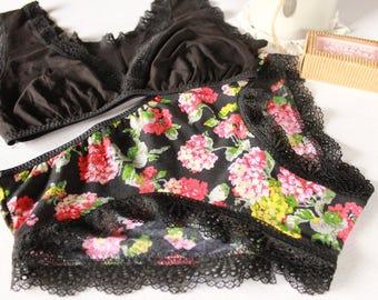 basic black and floral lingerie set, bohochic summer bralette, floral panties