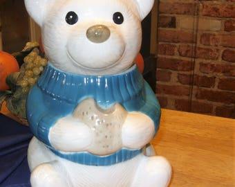 Teddy Bear Cookie Jar, Vintage Cookie Jar, Antique Bear Cookie Jar, Ceramic Bear Cookie Jar, Metlox Cookie Jar