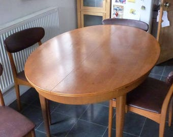 Teak Extending Mid Century Dining Table and 6 Chairs Retro