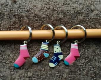 Knitting Stitch Markers ~ Set of Colourful Socks ~ Enamel Stitch Markers ~ Knitting Notions