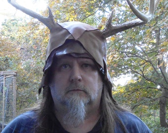Deer Antler and Leather Helm one of a kind Fantasy Wicca Pagan Cosplay Cernunnos
