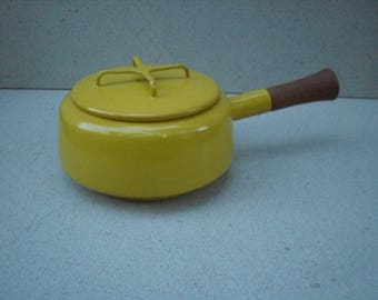 Vintage Dansk Kobenstyle Mustard Yellow Saucepan, Jens Quistgaard ,Dansk,Made in France, danish modern cookware,Jens Quistgaard cookware.