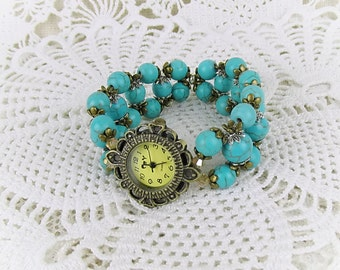 Watch quartz bracelet watch ladies stretch Turquoise Pearl Turquoise