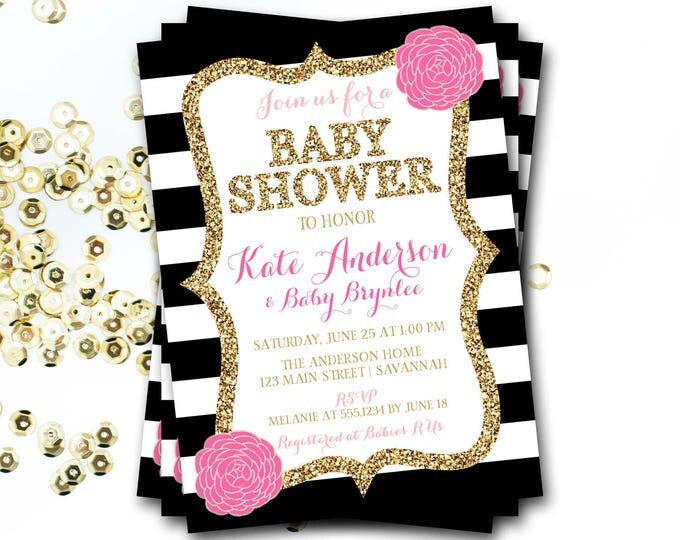 Pink Black And White Baby Shower Invitation, Pink And Black Baby Shower, Pink And Gold Baby Shower, Glitter Invitation, DIY Printable