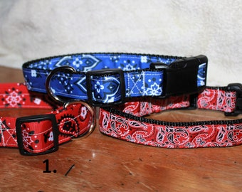 1 inch wide BANDANA/PAISLE Plastic Buckle Collars - PERSONALIZED