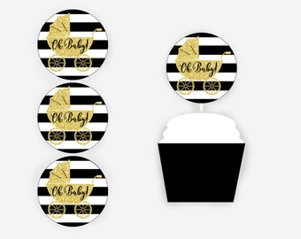 Oh Baby! Cupcake Toppers, Black and Gold Glitter Cupcake Toppers, Black and Gold Baby Shower, Baby Shower Decorations, Item 259
