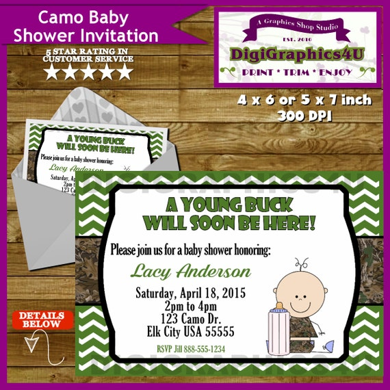 little buck camo baby shower invitation camouflage printable