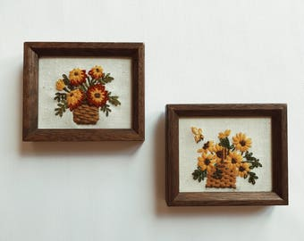Small vintage framed flower embroideries