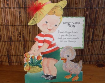 Large Vintage 1940's Flocked Son Easter Card - Boy Son's Children's Vintage Easter Card - Stand-Up First Easter Card - Flocked Duckling Card