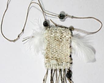 Silk and paper Reiki-infused handwoven talisman/amulet with feathers and glass beads