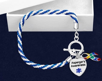 Asperger's Awareness Rope Bracelet in a Gift Box (1 Bracelet - Retail) (RE-B-02-2AS)