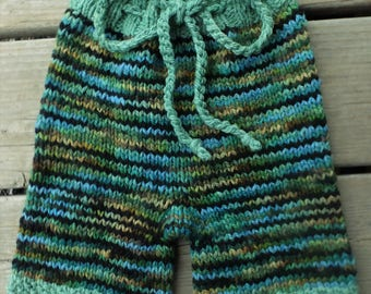 Handknit Wool Shorts, Wool Soaker, Wool Diaper Cover, size Large, 12-24+ months