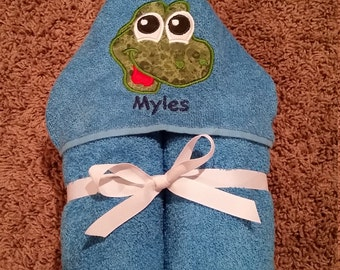 Personalized Dinosaur Blue Hooded Towel