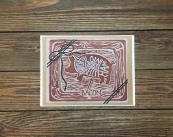 Bacon and Pig Butcher Woodcut Original Print