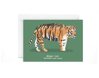Tiger greetings card - Tiger art Tiger card Tiger stationery Tiger greetings card Tiger print Bengal tiger Bengal tiger card animal card