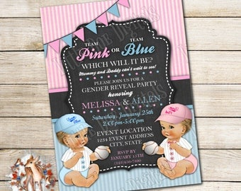 Personalized Baseball Team Pink or Team Blue Gender Reveal Party Invitations 5x7 or 4x6 - Digital File or Printed Copies - Pink Blue