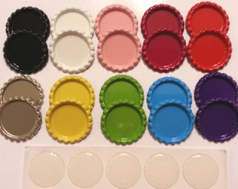 200pcs. 100 FLAT BOTTLE CAPS painted on both sides 10 color set + 100 epoxy dome stickers