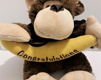 Cheeky monkey holding a banana, congratulations plushy, graduation or attainment stuffed toy gift, vintage 1980s,  childs soft toy, plushies