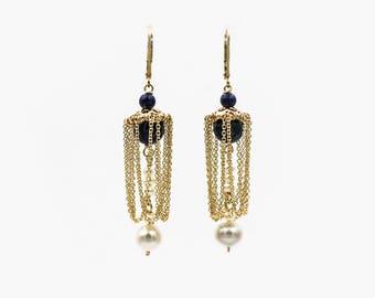 Gold Filled Lapis Earrings with Pearls: Empress' Counsel Earrings | Chandelier Earrings
