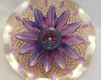Majestic Moonlight Glass Garden Flower Art Sun Catcher