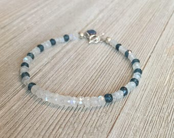 "Faceted moonstone & london blue topaz beaded bracelet~7""~S925 toggle clasp~rainbow hematite quatrefoil charm"