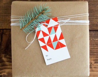 Orange and Teal Triangle Pattern Letterpress Gift Tag - Set of 6