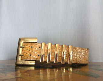 Escada Belt Vintage Gold Yellow Croc Patent Leather Made in Italy Women's Small