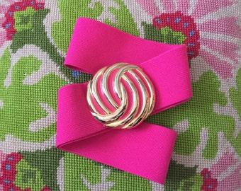 Pink Belt Gold Buckle Elastic Stretch Vintage size Medium or Large