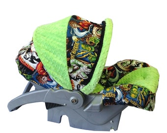 Infant Car Seat Cover-Monsters/ Lime