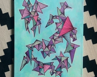 F R A C T A L- Abstract Geometric Painting (Acrylic on Canvas)
