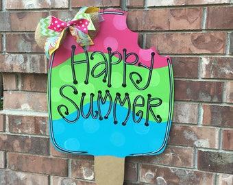 Summer Door Hanger, Popsicle Door Hanger, Ice Cream Door Hanger, Summer Wreath, Summer Decor, Whimsical Door Hanger, Popsicle Decor