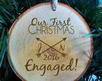 Personalized Our First Christmas Engaged Arrow Design Wood Slice Christmas Ornament Made in the USA