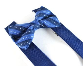 Navy Stripe Bow Tie and Navy Suspender Set !! for toddler/ boy/ baby/Teen/Adult/Men