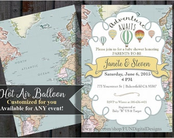 Adventure Awaits Baby Shower Invitation | World Map | Hot Air Balloon | Around the World | printable, digital file, PDF