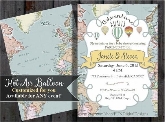 Adventure Awaits Baby Shower Invitation World Map Hot