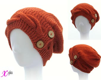 Orange Knitted Hat Button Band Hat Cable Band Slouchy Hat Adult Size Hand Knitted Hat Chunky Knit Hat Alpaca Wool Acrylic