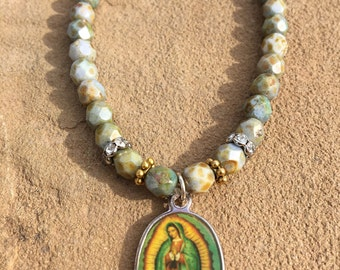 Vintage color Our Lady of Guadalupe with Czech fire-polished glass beads