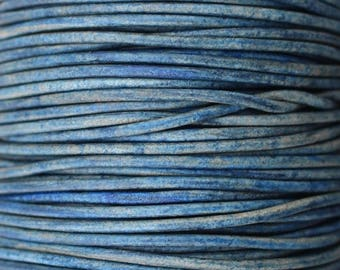 Natural Blue - 1mm Leather Cord per yard